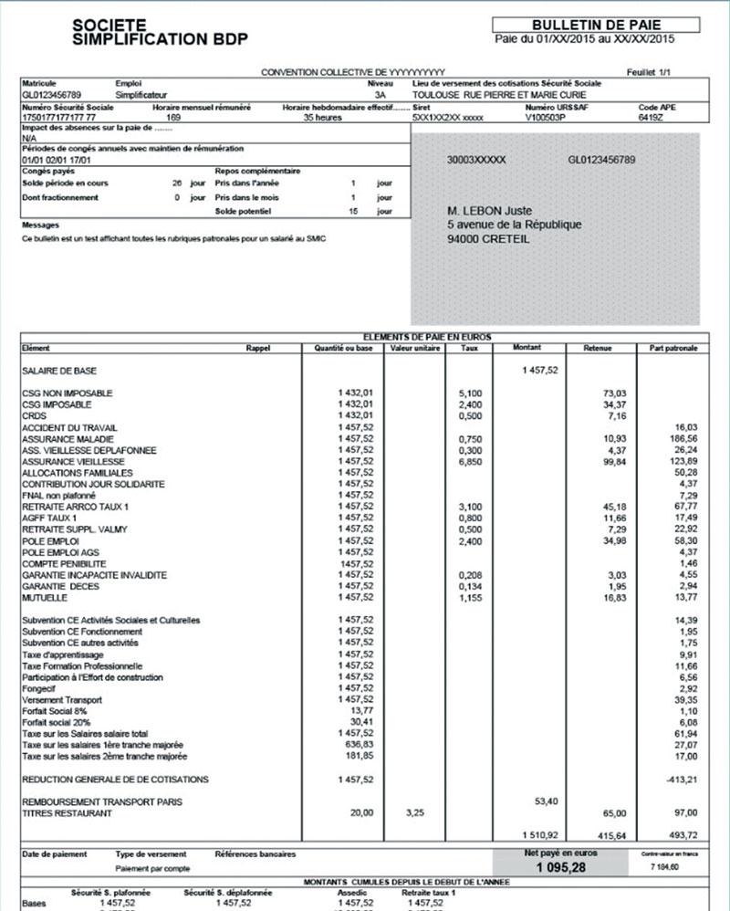 Le bulletin de paie simplifié   Comptazine