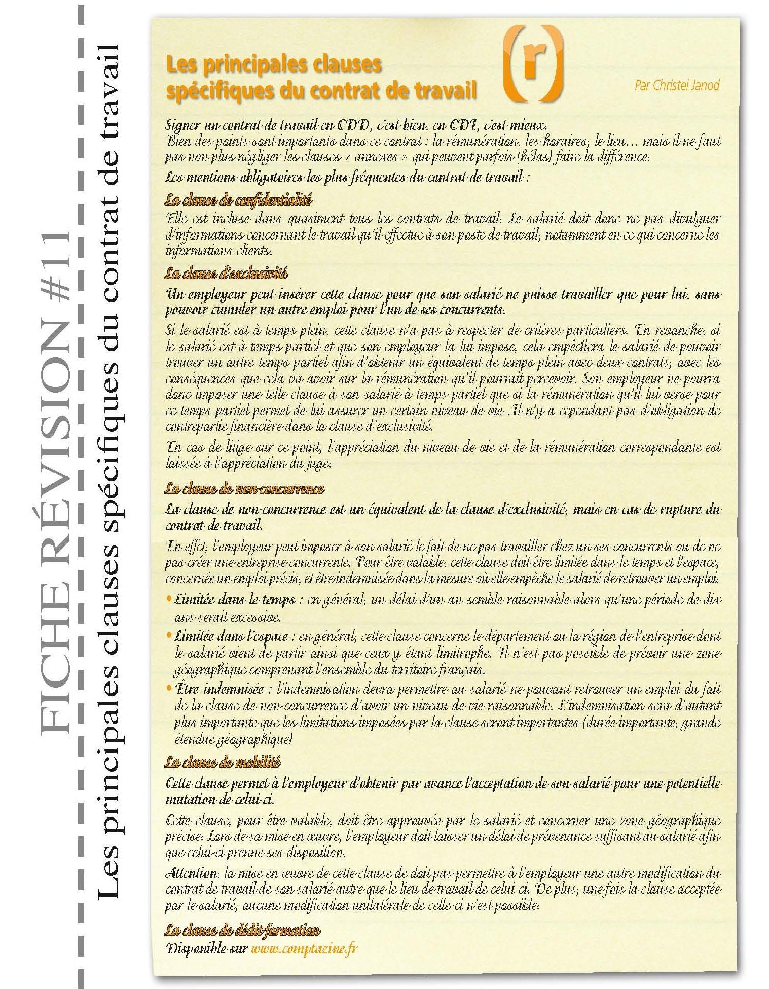 clause d un contrat de travail Fiche N°11 : Les principales clauses spécifiques du contrat de  clause d un contrat de travail