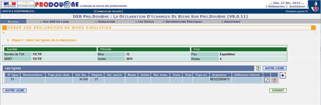 DEB en el portal de aduana francesa
